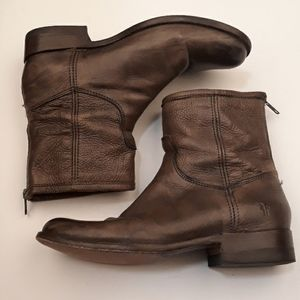FRYE Brown Grey Sz 10 B Zip Back Ankle Boots